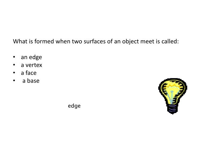 What is formed when two surfaces of an object meet is