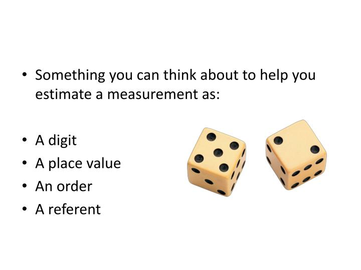 Something you can think about to help you estimate a measurement as:
