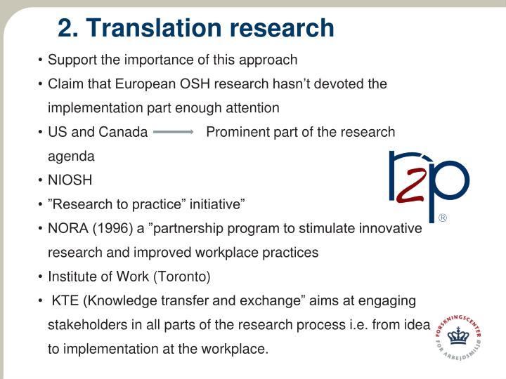 2. Translation research