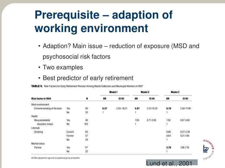 Prerequisite – adaption of working environment