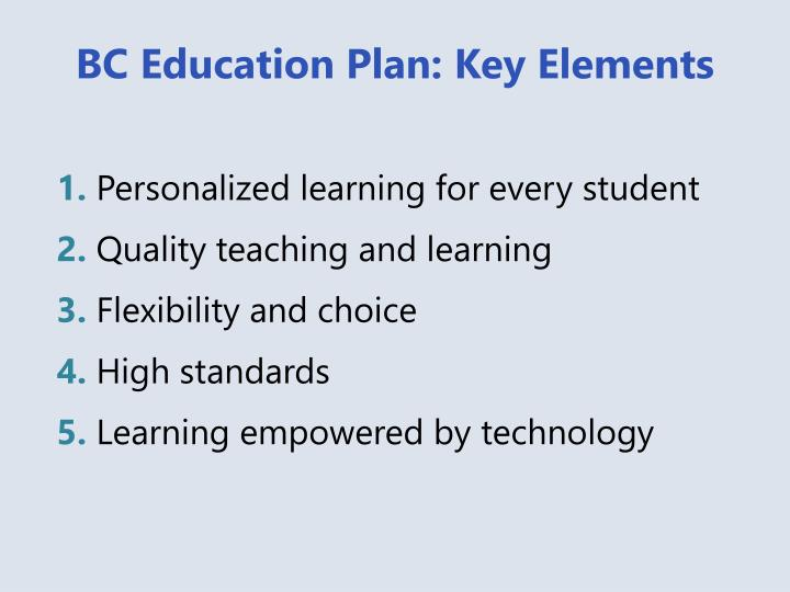 BC Education Plan: Key Elements