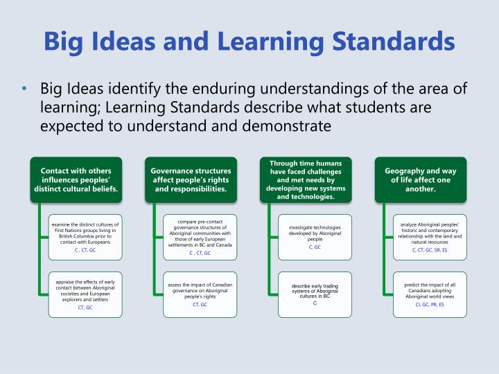 Big Ideas and Learning Standards