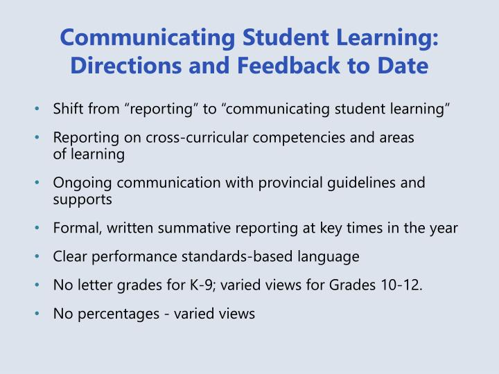 Communicating Student Learning: