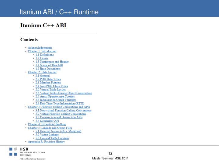 Itanium ABI / C++