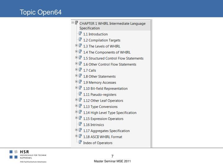 Topic Open64