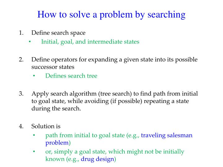 How to solve a problem by searching