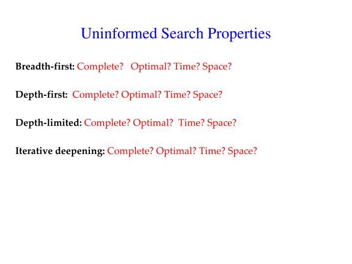 Uninformed Search Properties
