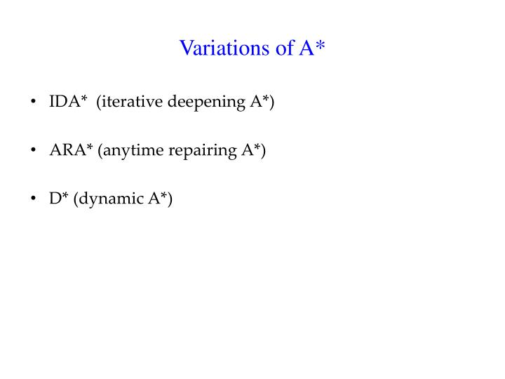 Variations of A*