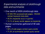 experimental analysis of clickthrough data and summaries