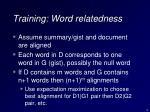 training word relatedness