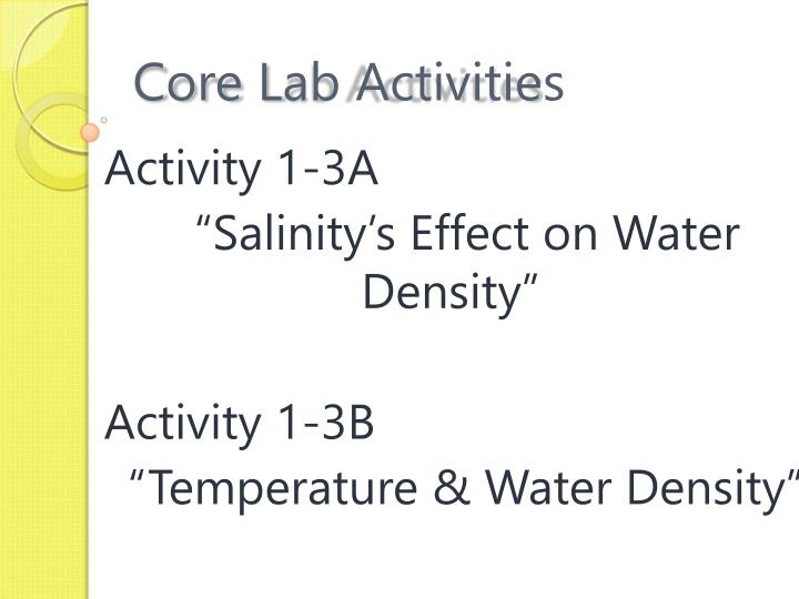 Core Lab Activities