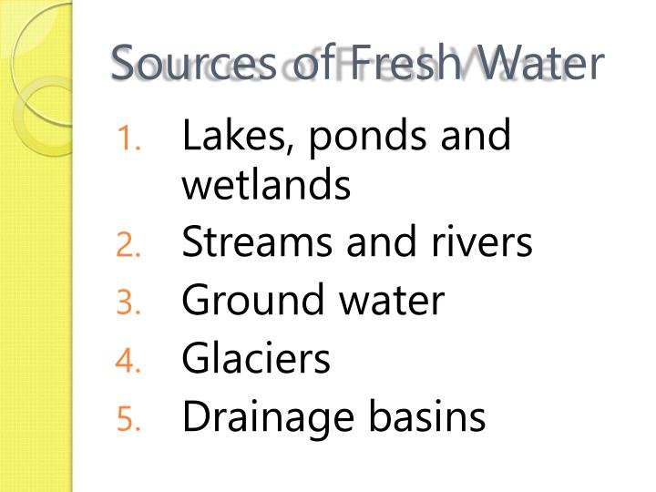 Sources of Fresh Water