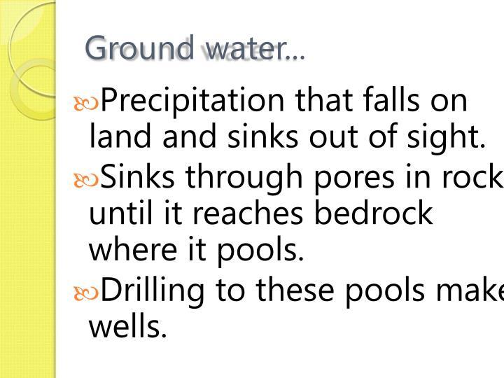 Ground water...