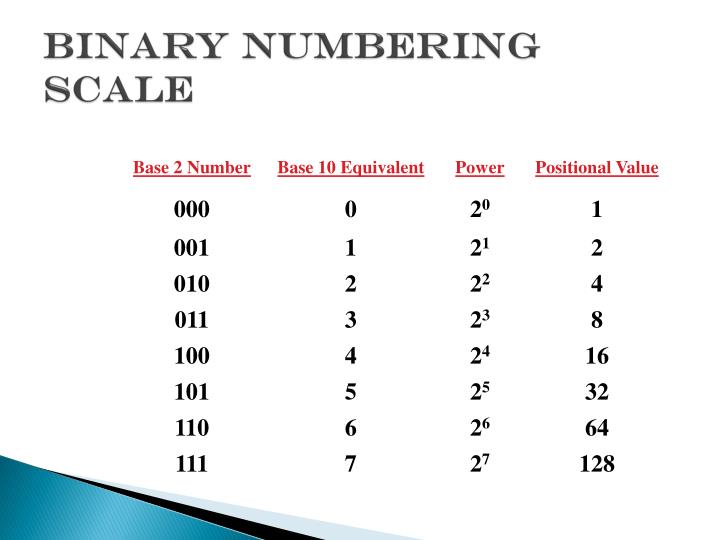 Binary Numbering Scale