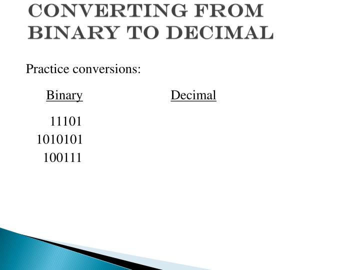 Converting from Binary to Decimal