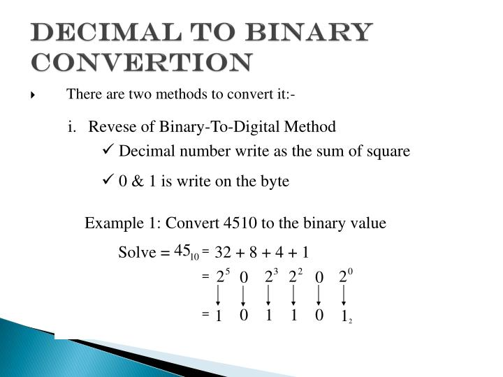 DECIMAL TO BINARY CONVERTION
