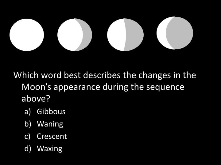 Which word best describes the changes in the Moon's appearance during the sequence above?
