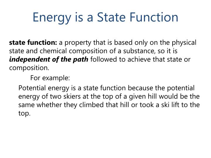 Energy is a State Function