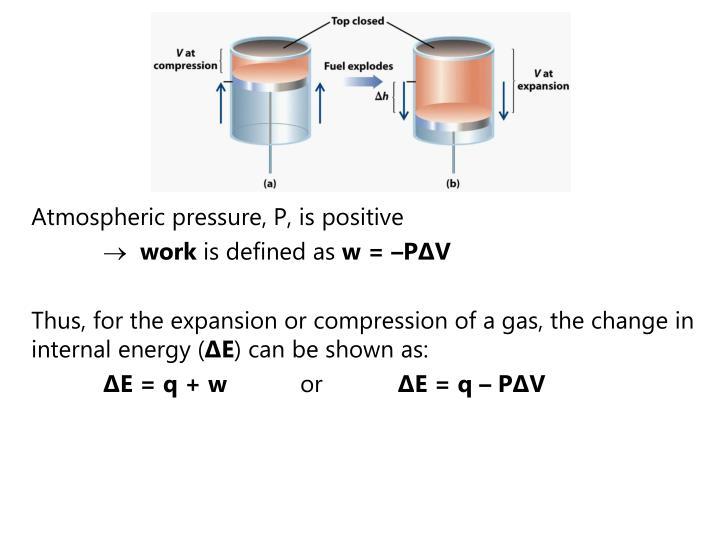 Atmospheric pressure, P, is