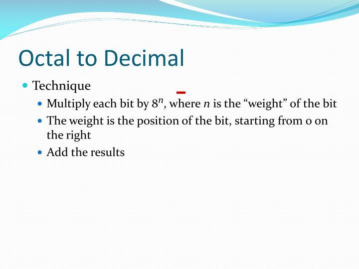 Octal to Decimal