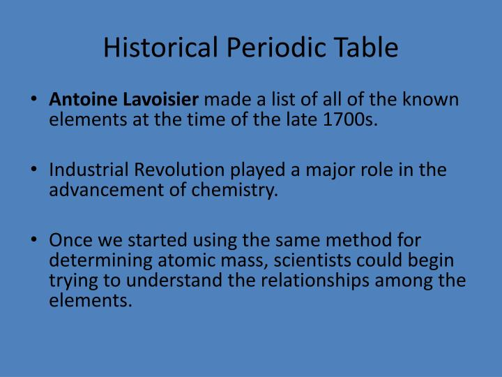 Historical periodic table