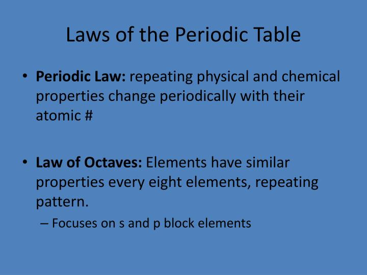 Laws of the Periodic Table