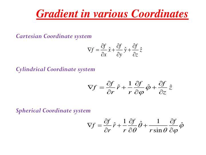 Gradient in various Coordinates