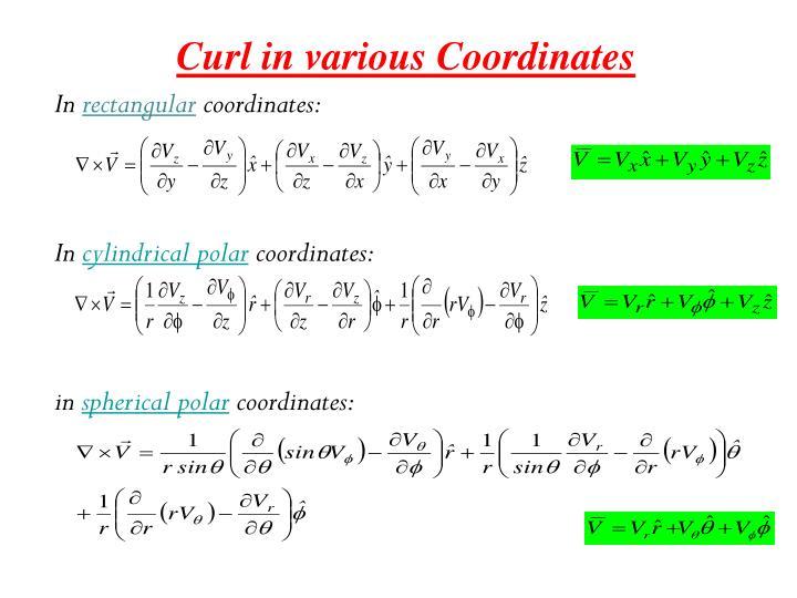 Curl in various Coordinates