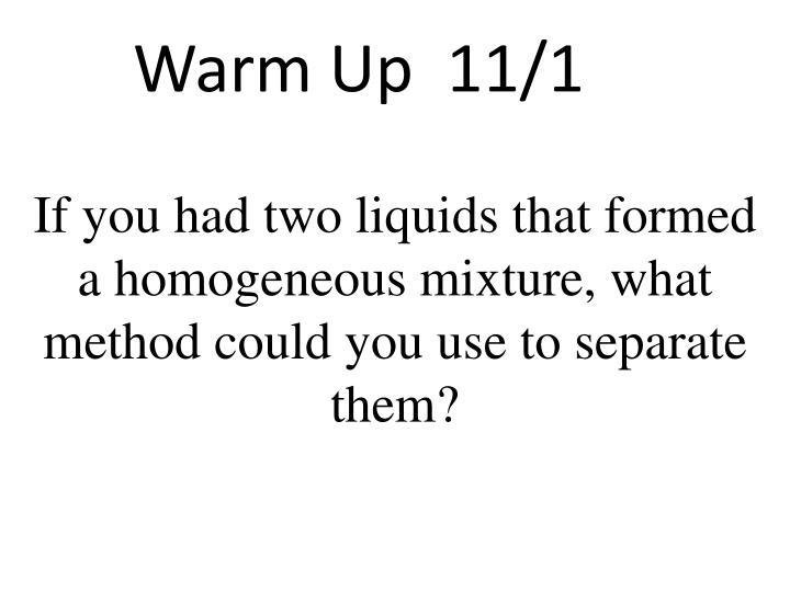 Warm Up  11/1