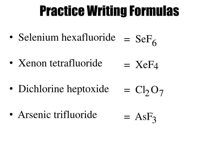 Practice Writing Formulas
