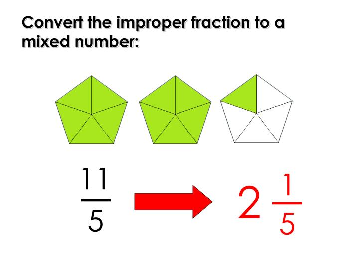Convert the improper fraction to a mixed number: