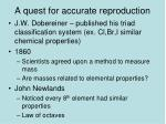 a quest for accurate reproduction
