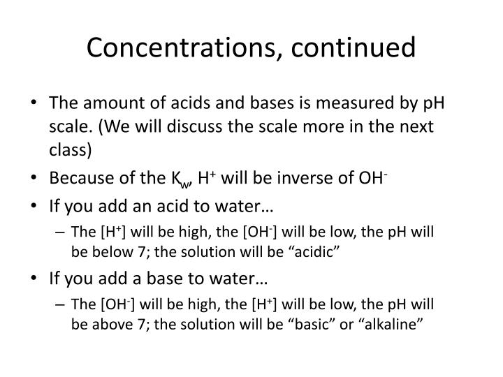 Concentrations, continued