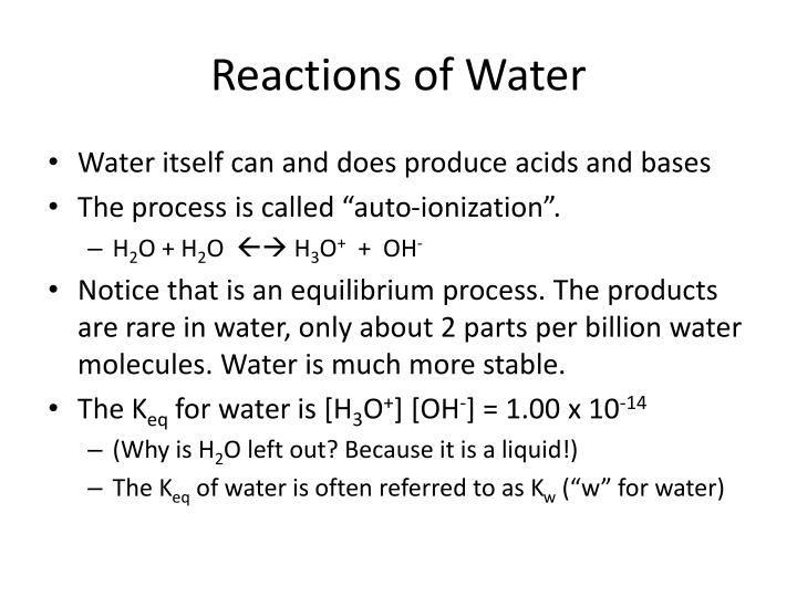 Reactions of Water