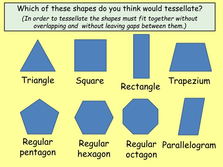 Which of these shapes do you think would tessellate?