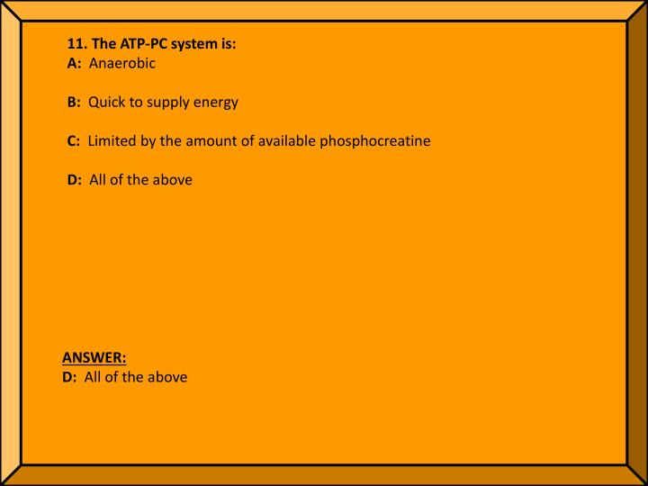 11. The ATP-PC system is: