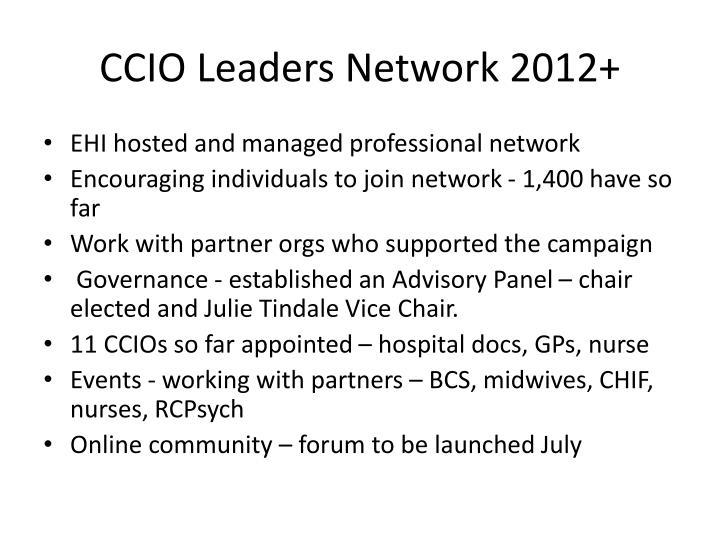 CCIO Leaders Network 2012+