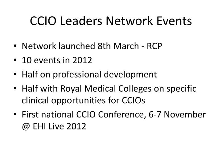 CCIO Leaders Network Events