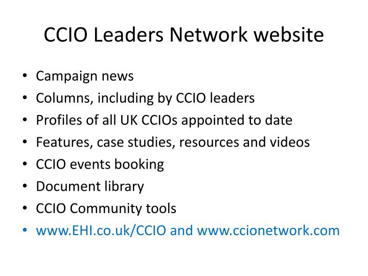 CCIO Leaders Network website