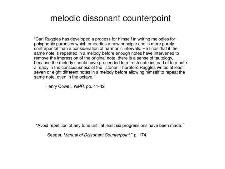 melodic dissonant counterpoint