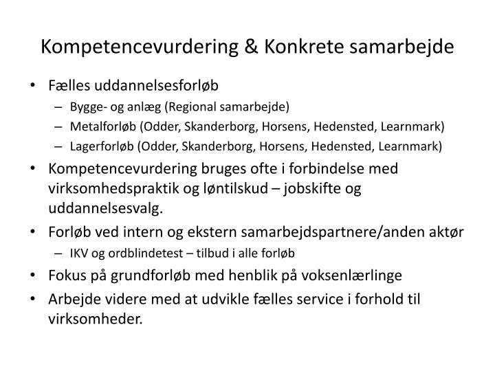 Kompetencevurdering & Konkrete samarbejde