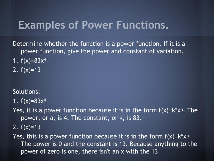 Examples of Power Functions.