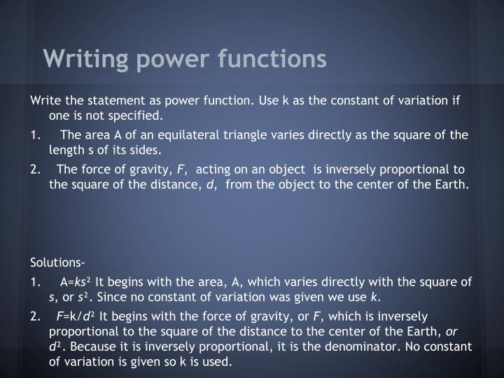 Writing power functions