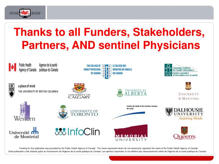 Thanks to all Funders, Stakeholders,