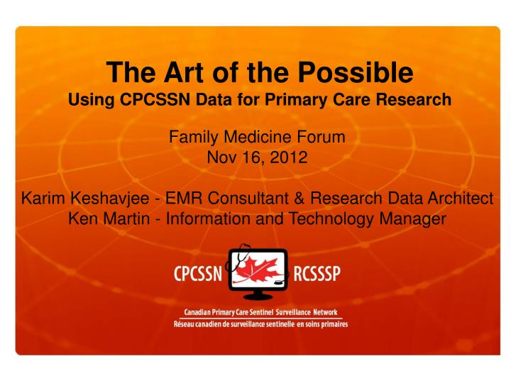 the art of the possible using cpcssn data for primary care research