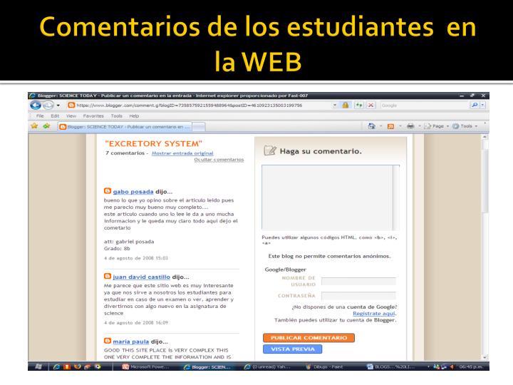 Comentarios de los estudiantes  en la WEB