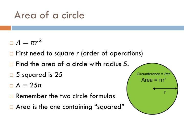 Area of a circle