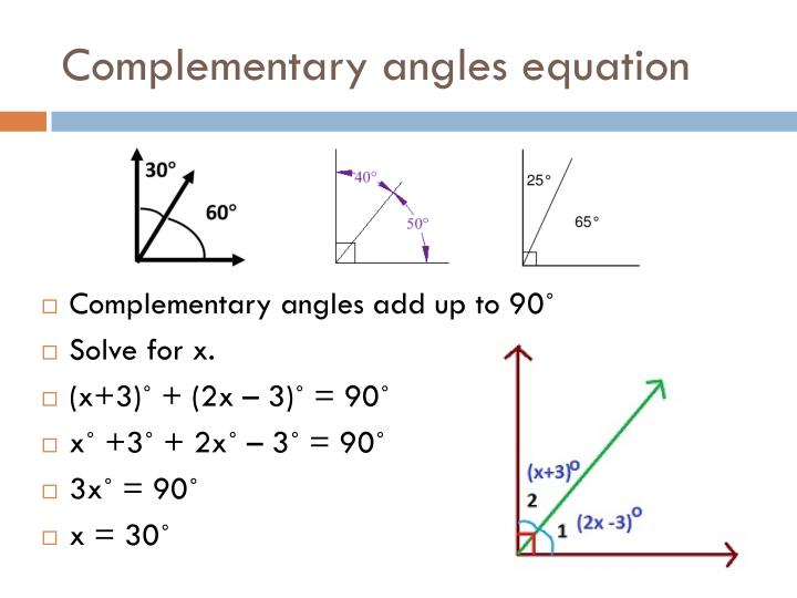 Complementary angles equation