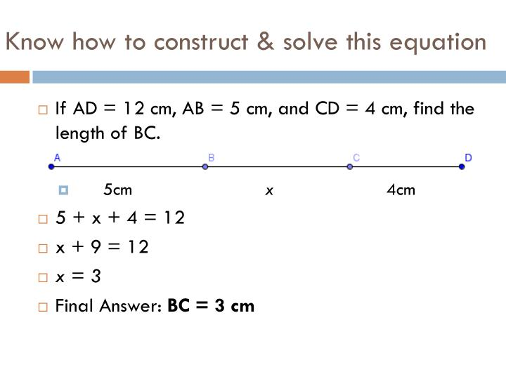 Know how to construct & solve this equation
