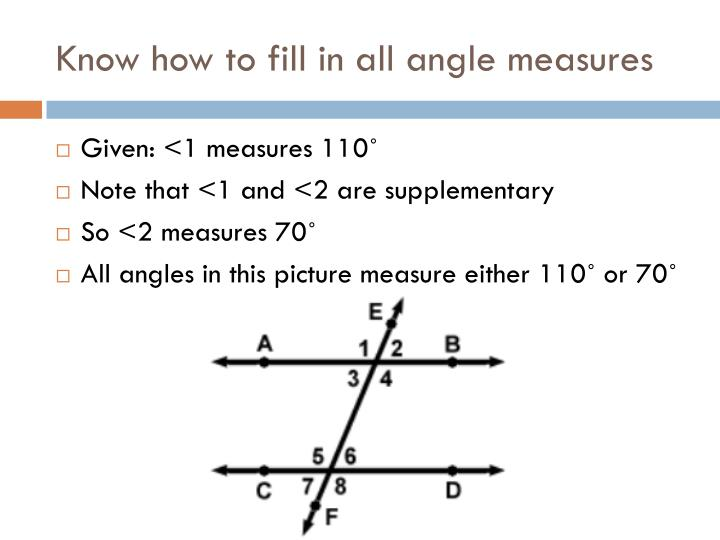 Know how to fill in all angle measures